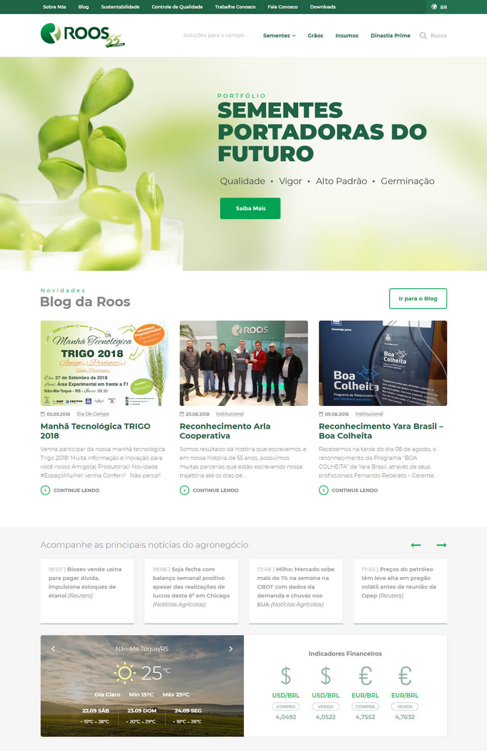 Website Sementes Roos
