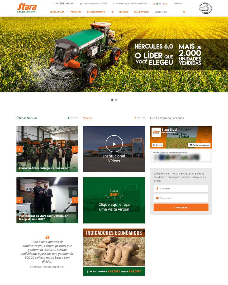 Website Stara Implementos Agrícolas - Agronegócio