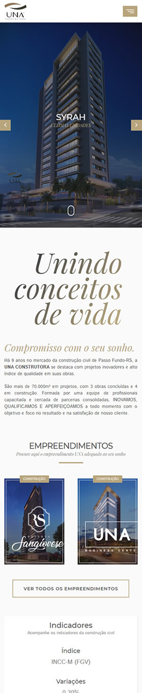 Website Construtora UNA Mobile